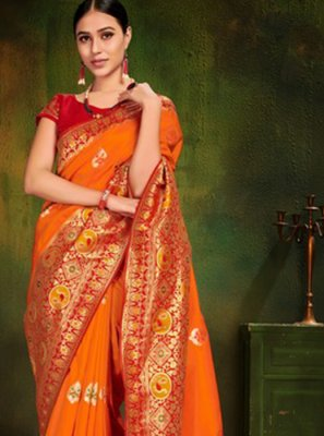 Patola Silk  Orange Classic Designer Saree