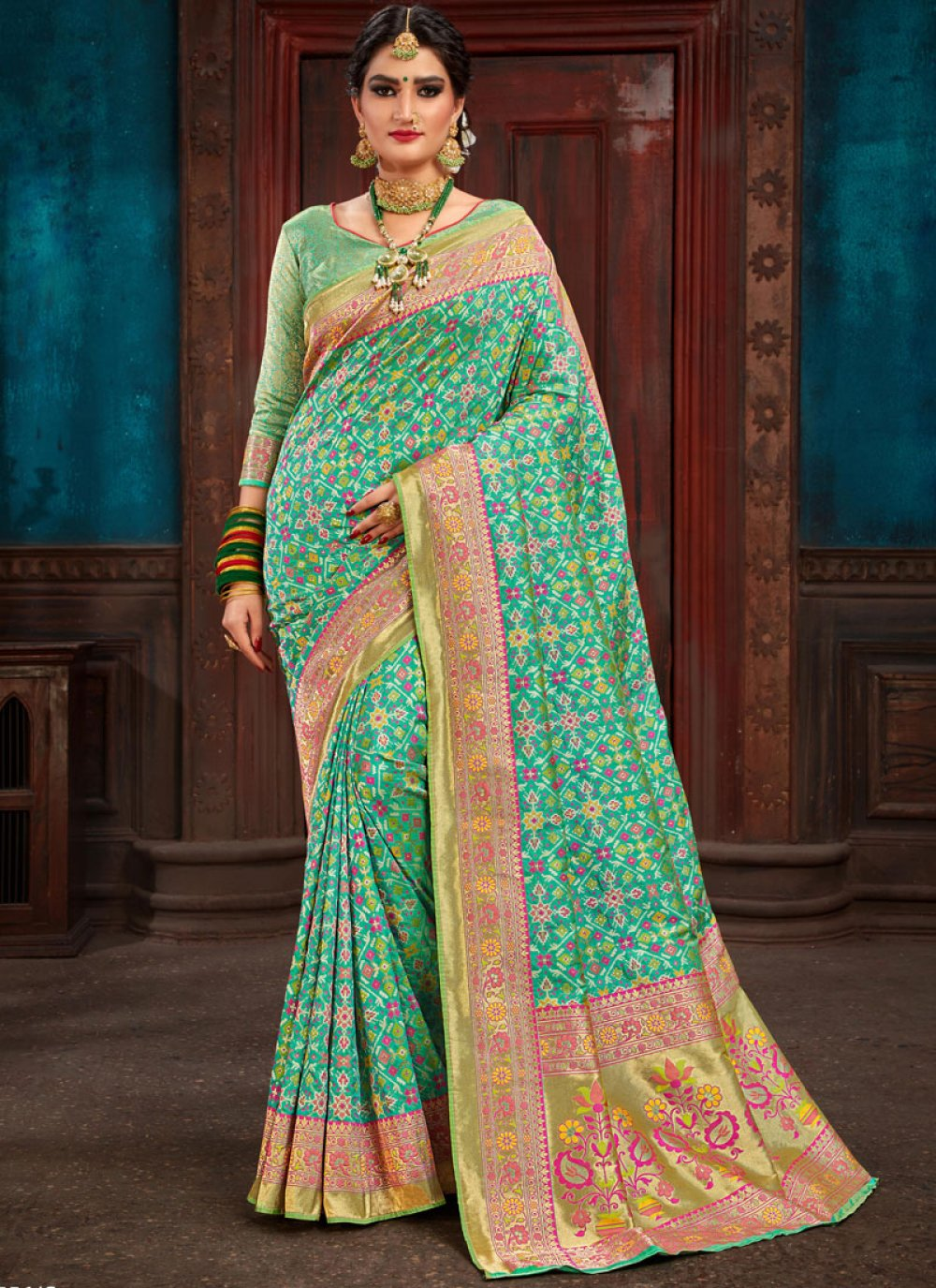 Patola Silk  Sea Green Traditional Designer Saree
