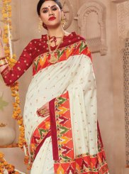 Patola Silk  Weaving Off White Traditional Saree