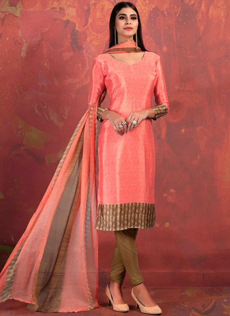 Peach Abstract Print Fancy Fabric Churidar Suit