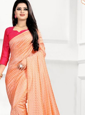 Peach Abstract Print Traditional Saree