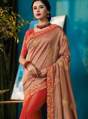 Peach and Pink Designer Half N Half Saree
