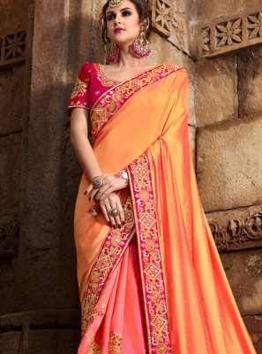 Peach and Pink Patch Border Work Art Silk Designer Traditional Saree