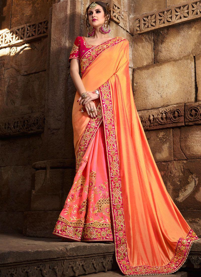 Peach and Pink Patch Border Work Art Silk Designer Traditional Saree