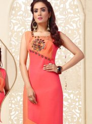 Peach and Pink Printed Casual Kurti