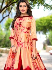 Peach and Red Party Party Wear Kurti