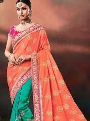 Peach and Sea Green Resham Half N Half Designer Saree