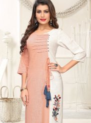 Peach and White Casual Cotton Casual Kurti