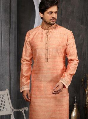 Peach Art Banarasi Silk Indo Western