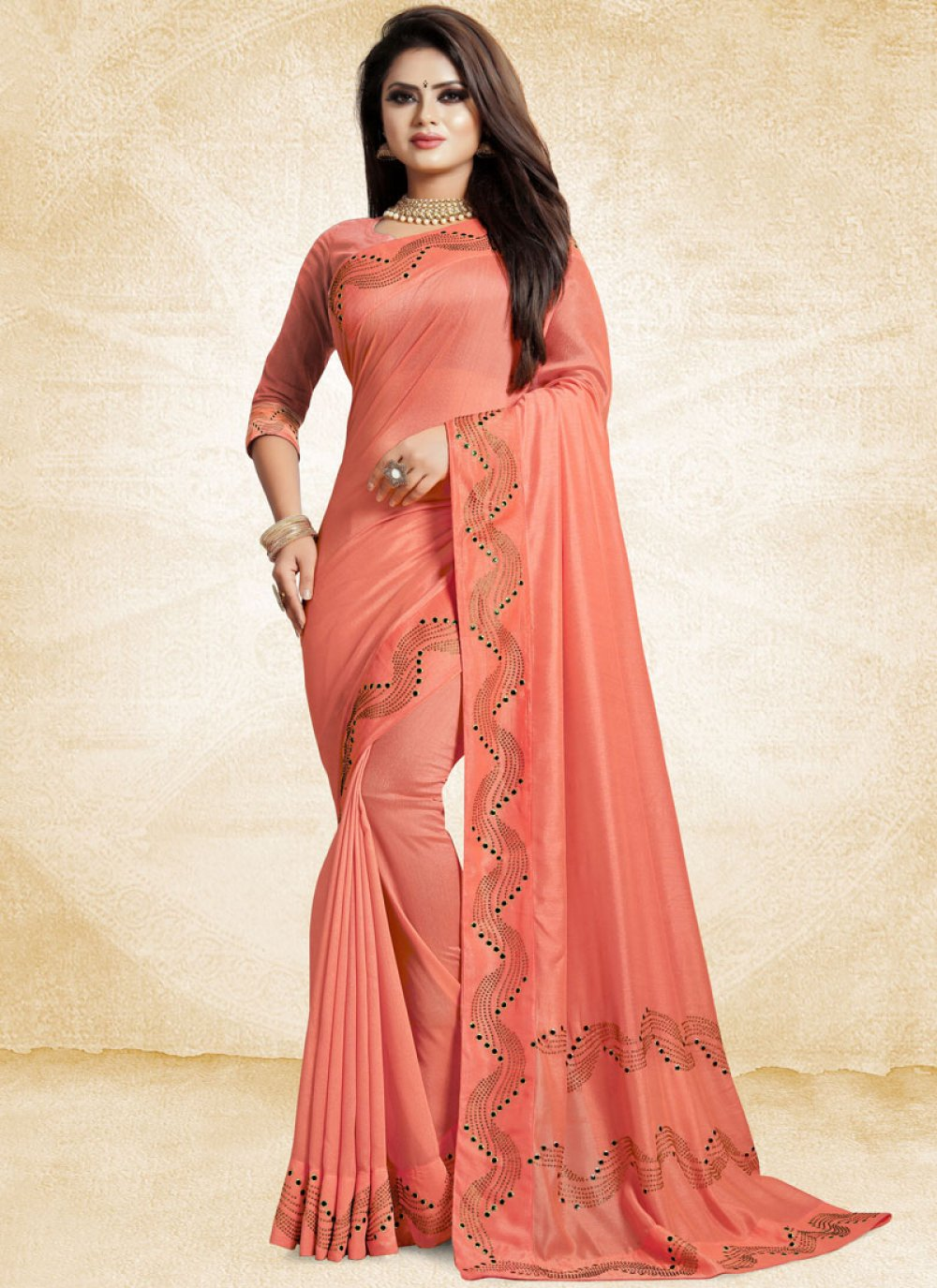 Peach Art Silk Ceremonial Traditional Designer Saree