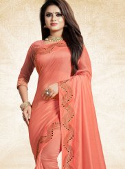 Peach Art Silk Ceremonial Traditional Designer Saree