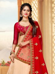 Peach Art Silk Ceremonial Trendy Lehenga Choli