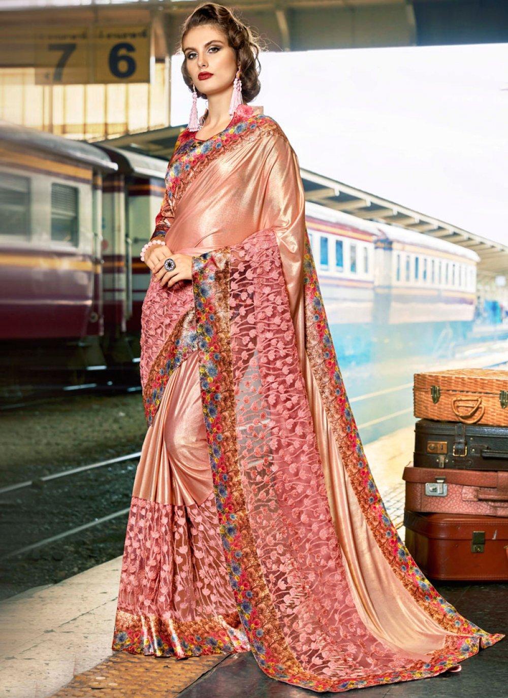 Peach Art Silk Classic Designer Saree