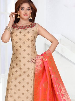 Peach Art Silk Designer Salwar Suit