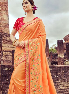 Peach Art Silk Designer Traditional Saree
