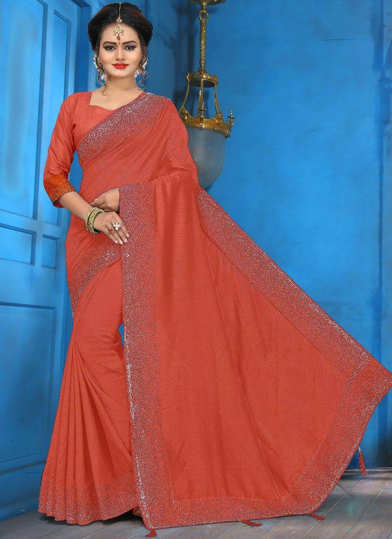 Peach Art Silk Diamond Traditional Designer Saree