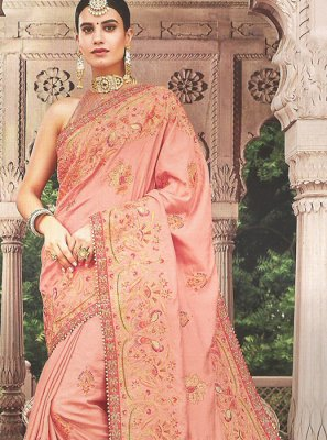Peach Art Silk Embroidered Classic Saree
