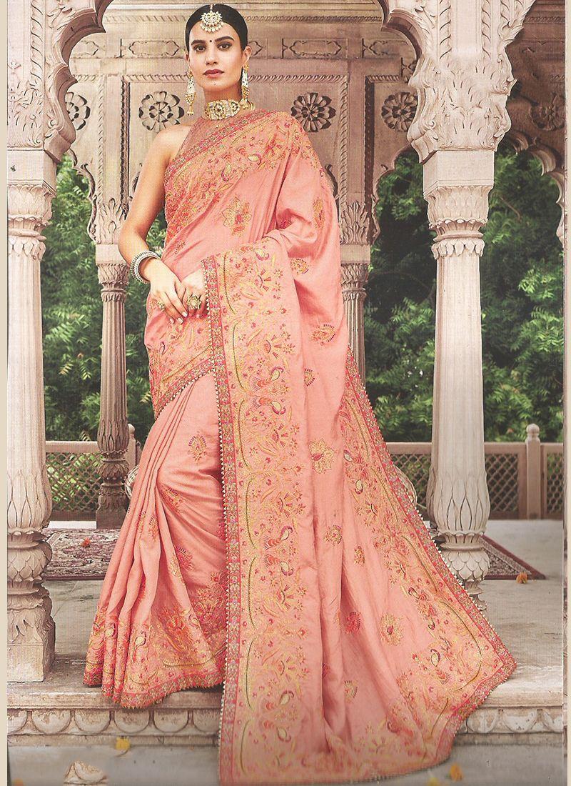 Peach Art Silk Embroidered Classic Saree