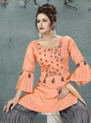 Peach Art Silk Embroidered Designer Palazzo Salwar Suit