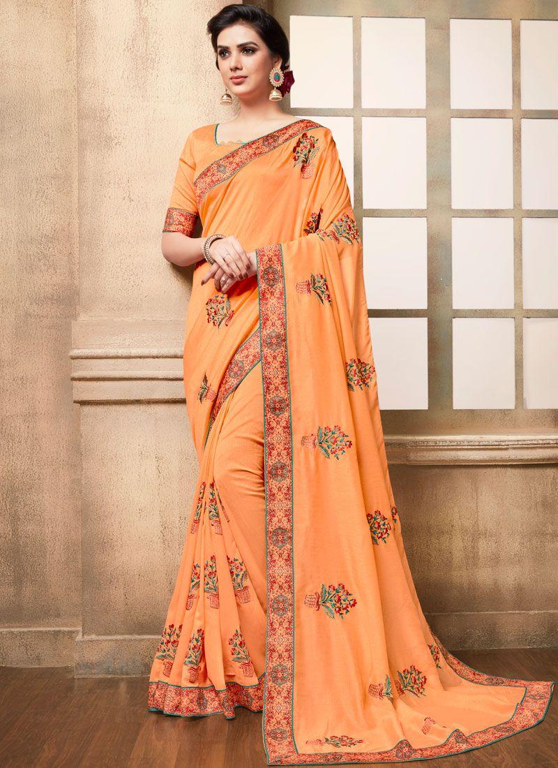 Peach Art Silk Embroidered Traditional Saree