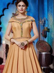 Peach Art Silk Festival Designer Gown