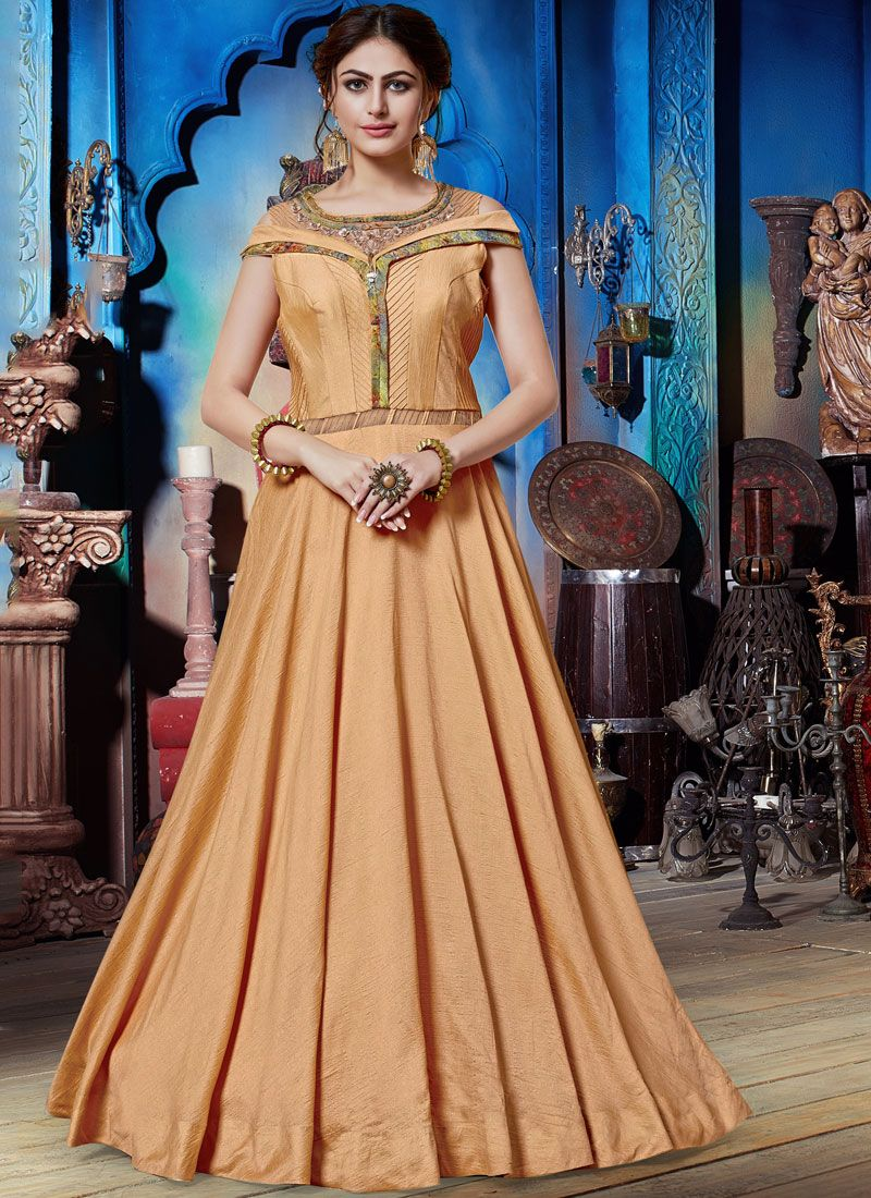 Peach Art Silk Festival Designer Gown