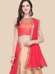 Peach Art Silk Lehenga Choli