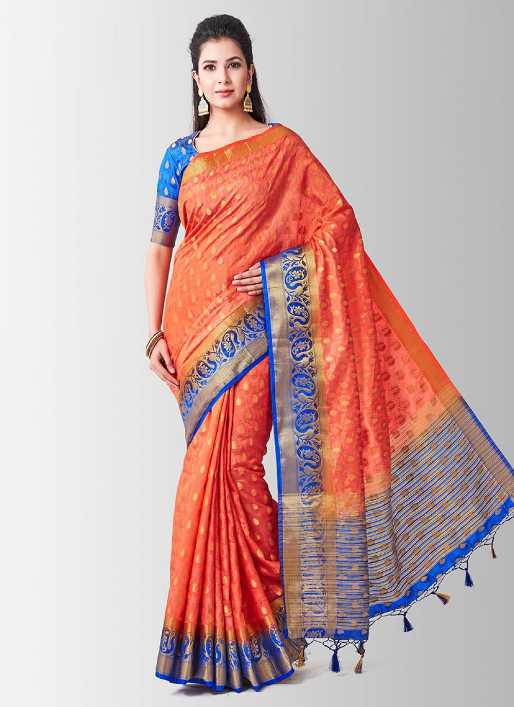 Peach Art Silk Sangeet Designer Traditional Saree