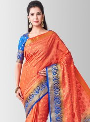 Peach Art Silk Sangeet Designer Traditional Saree