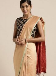Peach Art Silk Traditional Designer Saree