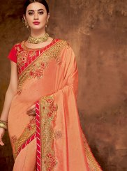 Peach Art Silk Traditional Saree