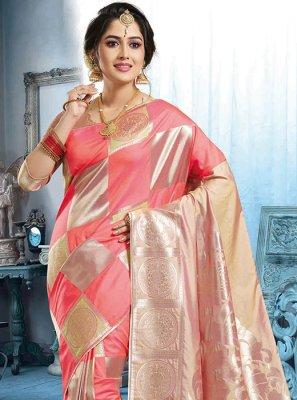 Peach Art Silk Trendy Saree