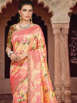 Peach Art Silk Wedding Designer Traditional Saree