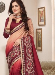 Peach Art Silk Zari Trendy Saree