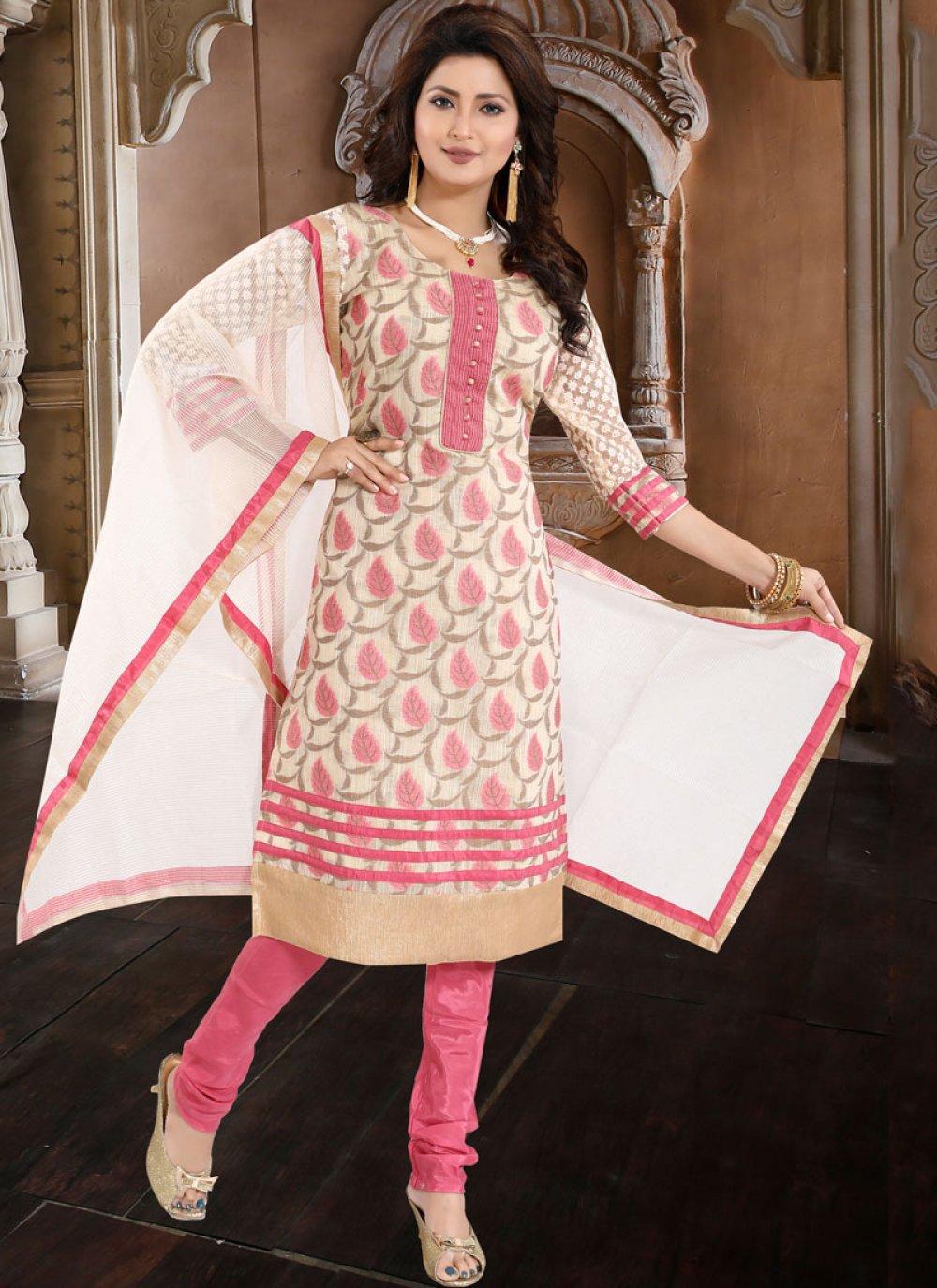 Peach Banglori Silk Fancy Churidar Designer Suit