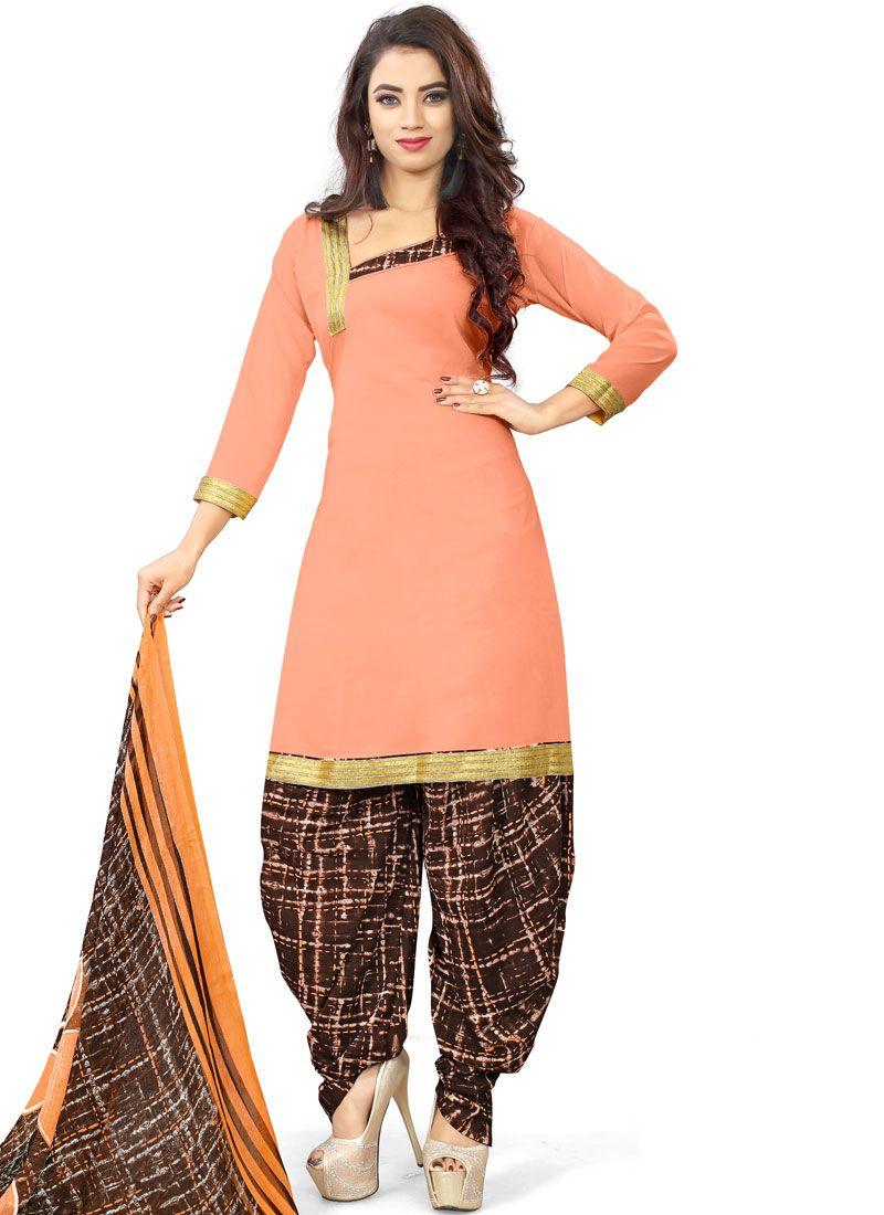 Peach Casual Poly Cotton Punjabi Suit
