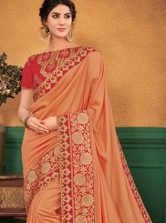Peach Ceremonial Art Silk Designer Traditional Saree