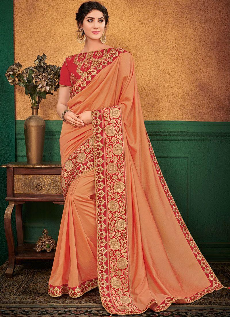Peach Ceremonial Art Silk Designer Traditional Saree
