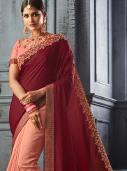Peach Ceremonial Designer Saree
