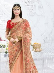 Peach Ceremonial Net Classic Saree