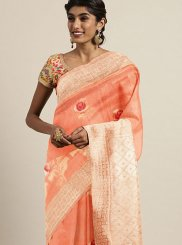 Peach Ceremonial Traditional Designer Saree