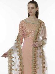 Peach Chanderi Designer Salwar Kameez