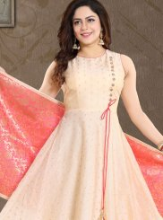 Peach Chanderi Readymade Suit