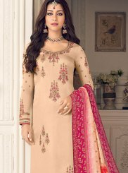 Peach Color Designer Straight Suit
