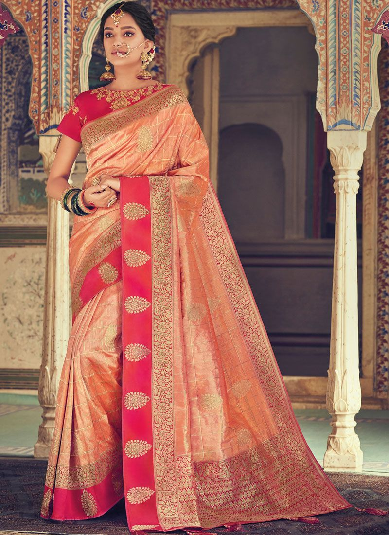 Peach Color Designer Traditional Saree