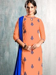 Peach Cotton   Embroidered Churidar Suit