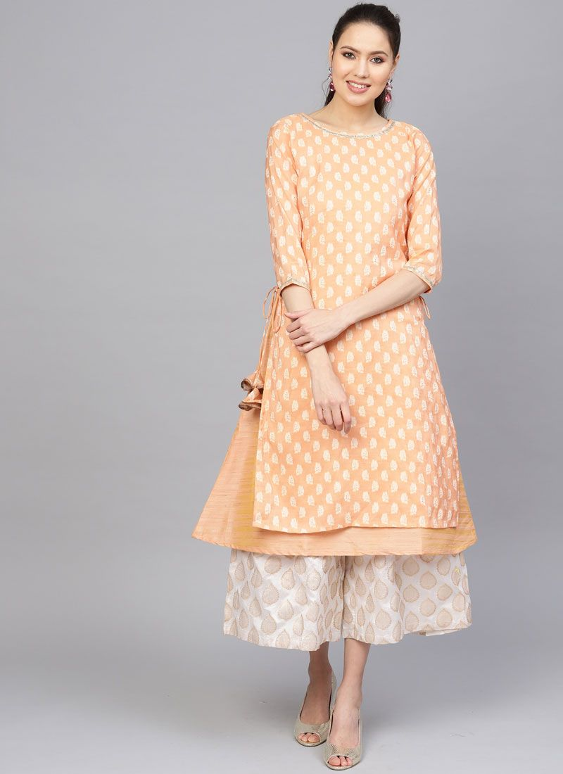 Peach Cotton Fancy Casual Kurti