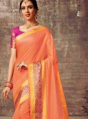 Peach Cotton Silk Traditional Saree