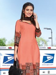 Peach Crepe Silk Churidar Suit