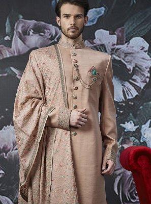 Peach Embroidered Art Banarasi Silk Indo Western
